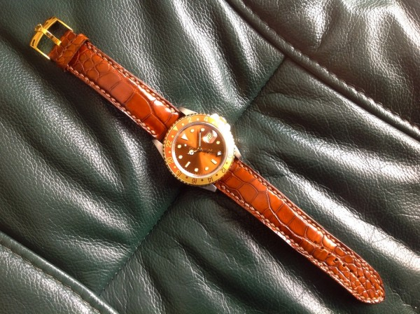 Michael Knapp Leather Alligator Watch Strap on ROLEX Root Beer