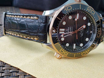 Custom Handmade Black Alligator Watch Strap by Michael Knapp Leather