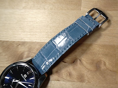Custom Handmade Blue Alligator Watch Strap by Michael Knapp Leather