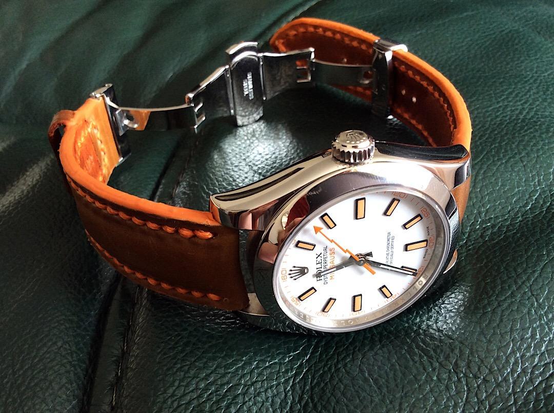 Bourbon Tan Horween Shell Cordovan Watch Strap with Orange Stitching