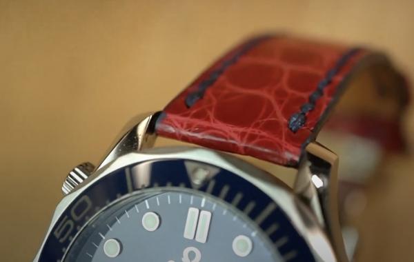 Red Genuine Alligator Watch Strap with Royal Blue Stitching