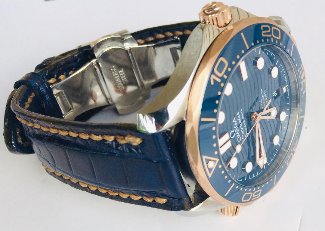 Royal 'Midnight' Blue Alligator Watch Strap with Colonial Tan Stitching