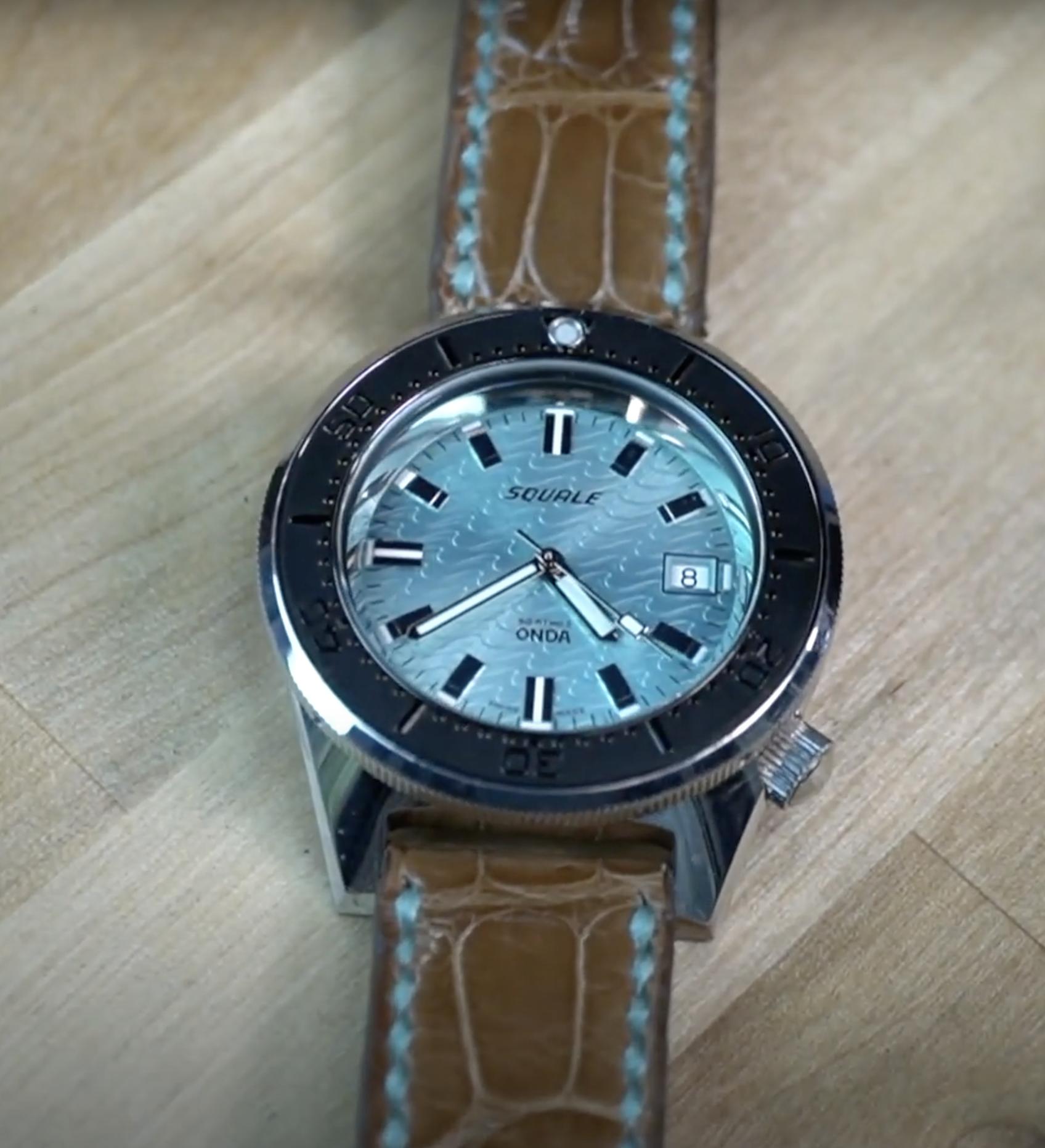 Peanut Tan Alligator Watch Strap with Aqua Blue Stitching