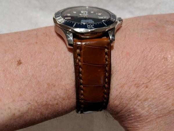 Dark Brown Genuine Alligator Watch Strap with Cigar Brown Stitching